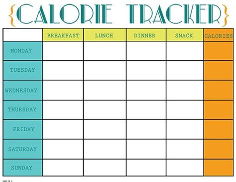 printable meal planner with calorie counter printable calorie tracker chart free printable calorie