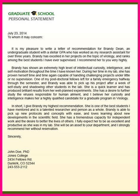 College Letter Of Recommendation From Supervisor 8 Sle Letter Of Recommendation For Graduate School From Manager