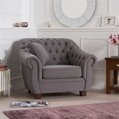 fabric chesterfield style sofa sylvan chesterfield style fabric sofa chair in grey linen