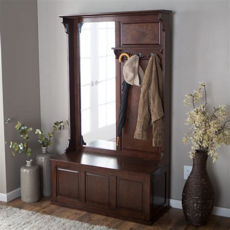 hall trees with storage bench mirror belham living lynden hall tree with vertical mirror hall
