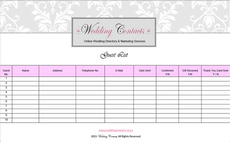 printable wedding guest list template 7 wedding guest list template free word excel pdf