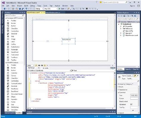 tutorialspoint windows wpf hello world