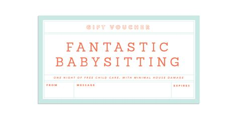 babysitting gift voucher template 8 best images of printable babysitting voucher template