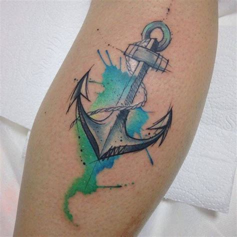 anchor watercolor tattoo by felipe bernardes anchor