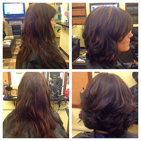 dye hair before or after haircut before after long to short beautiful bob haircut color