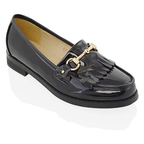 black flat shoes with buckle womens flat loafers casual fringe black buckle work