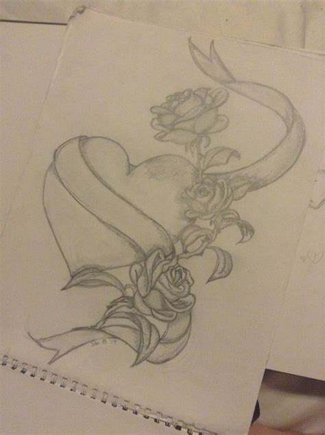 heart w ribbon amp roses drawing ideas pinterest