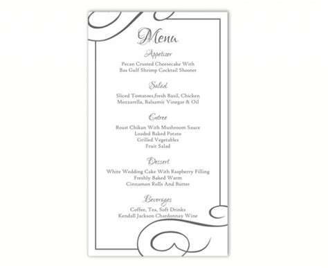 Word Card Editable Template by Wedding Menu Template Diy Menu Card Template Editable Text