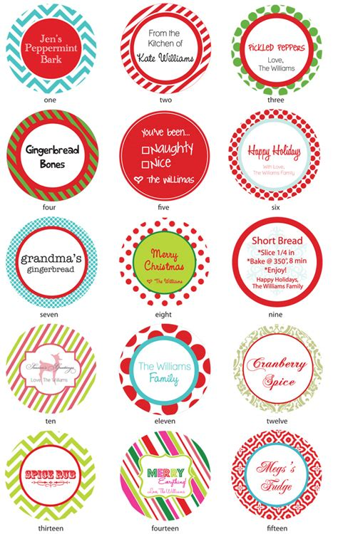 printable christmas round tags 6 best images of free printable party label templates