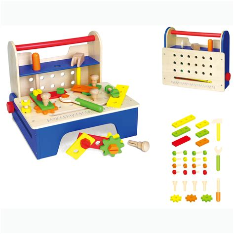 boys wooden tool bench new childrens kids wood play toy tool bench box kit set boys wooden hammer ebay