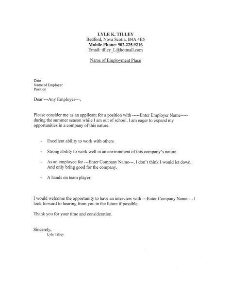 Exle For Cover Letter For Resume by Resume Cover Letter Lyle Tilley