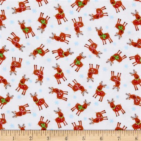 pattern for fabric reindeer timeless treasures christmas flannels mini reindeer white