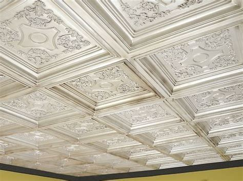 coffered look faux tin ceiling tile td03 antique 25
