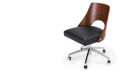 Hailey Swivel Office Chair Walnut And Black Made Com Black Swivel Chair