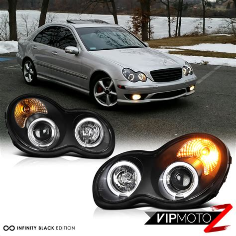 mercedes benz c230 c240 c280 c320 c350 2001 2007 2001 2007 m benz w203 c class c230 c240 c320 black halo projector headlights set