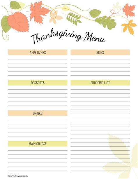 thanksgiving menu planner template thanksgiving planner template 100 images free