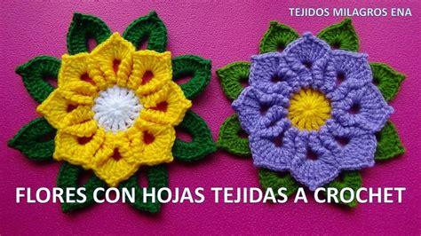 imagenes de flores tejidas a crochet flores tejidas a crochet o ganchillo paso a paso con hojas