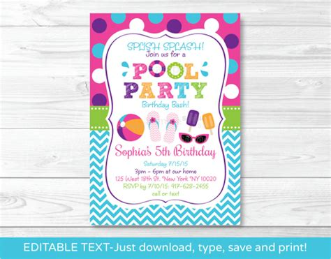pool party invitation template 37 free psd format