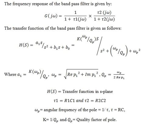 high pass filter equation for gain passive band pass filter circuit design and applications