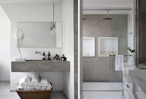 vasca da bagno in cemento cemento a vista negli interni idee costruzione