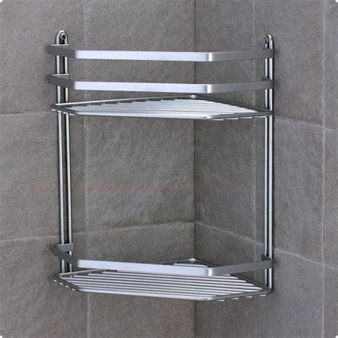 Satina Chrome Double Corner Shower Caddy Shelf Basket Bathroom Wire Shelves