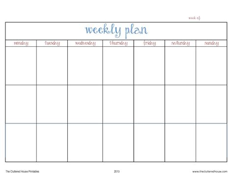 printable calendar week starting saturday the cluttered house weekly planner printable organize