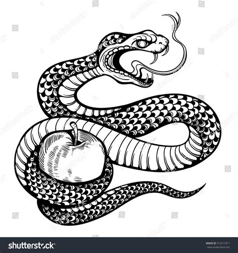 black and white snake tattoos vector black white snake apple stock vector