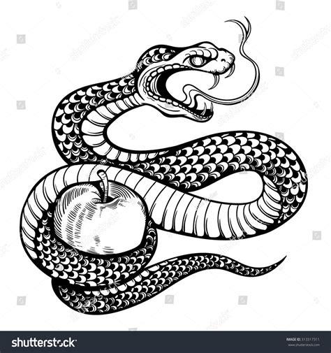 black and white snake tattoos vector black white snake apple stock vector