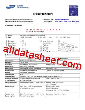datasheet capacitor samsung cl21b104kcfsfne datasheet pdf samsung semiconductor