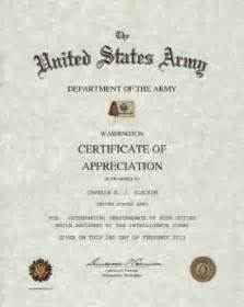 Military Certificates Templates Army Certificate Of Appreciation