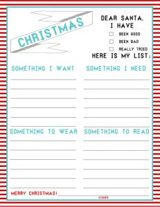 Printable Christmas Wish Lists Amy S Wandering Santa Wish List Template