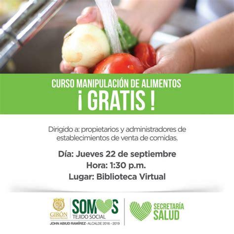 cursos manipulacion de alimentos curso gratuito de manipulaci 243 n de alimentos bucaramanga
