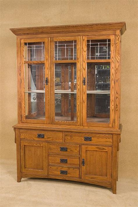 pattern hutch vintage arts and crafts style china cabinet with leaded