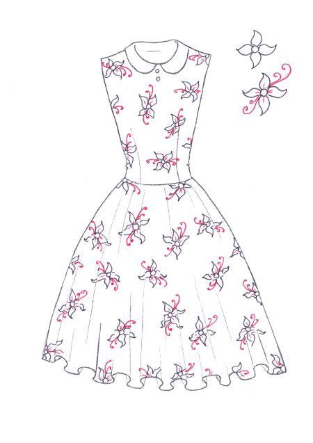 drawing a pattern for dress how to draw floral print step 07 d i y drawing fashion