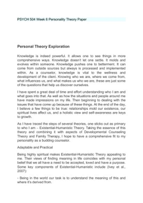 Counselling Theory Essay by Counseling 507 Personal Theory Paper Durdgereport642 Web Fc2
