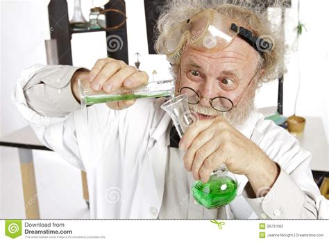 Crazy Couches mad scientist conducts chemistry experiment stock