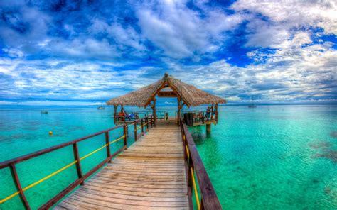 leleuvia island beautiful bay  wooden platform straw