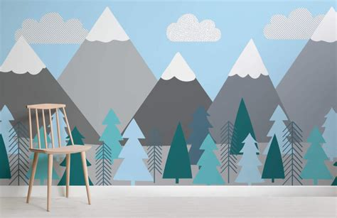 Kids Mountains and Trees Wall Mural Murals Wallpaper
