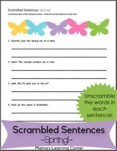 scrambled sentences worksheets images