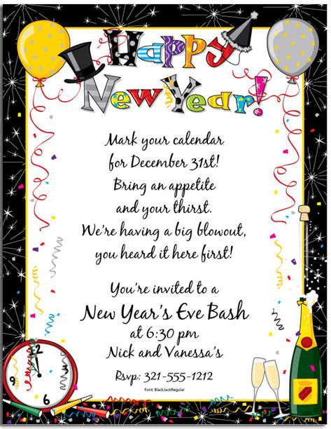 new years invite new year invitation wording marialonghi