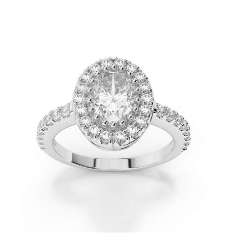 oval halo engagement ring with halfway side stones