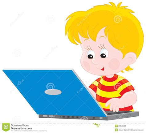 imagenes niños usando computadoras muchacho con una computadora port 225 til imagen de archivo