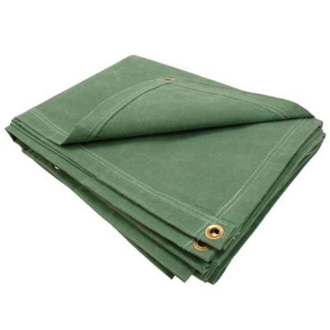 sigman 6 ft 8 in x 8 ft 8 in 12 oz green canvas tarp