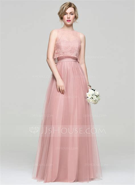 A Line/Princess Sweetheart Floor Length Tulle Bridesmaid