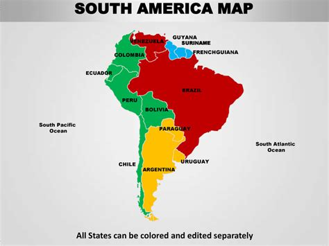 america map shape south america editable continent map with countries