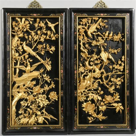 lot   chinese carved gilt lacquer wall panels