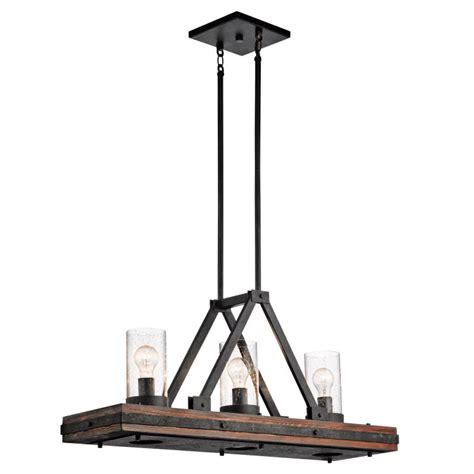 kichler island light kichler 43433aub colerne rustic auburn stained finish