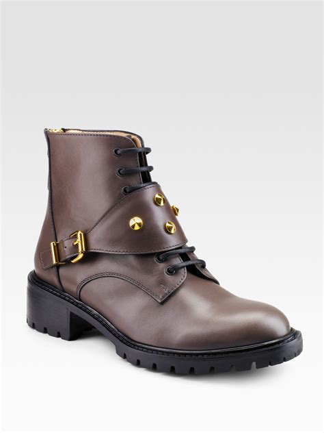 fendi spike flat lace up ankle boots in brown lyst