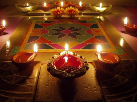 diwali diya pooja thali rangoli decoration ideas pictures