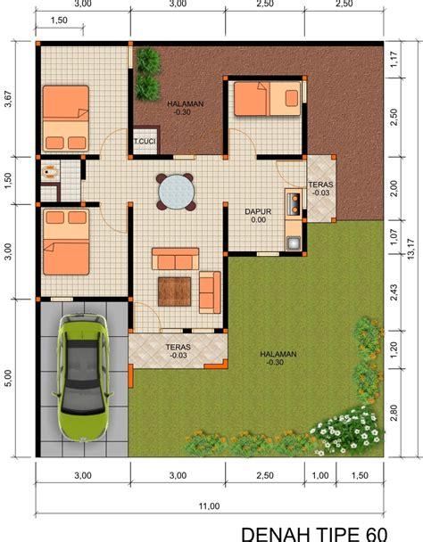 gambar denah rumah type 60 dan ukurannya freewaremini